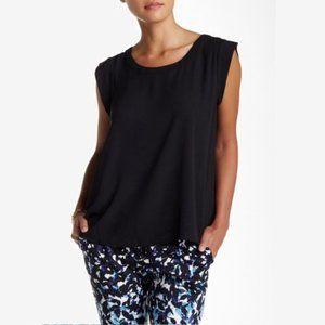 Pleione Cap Sleeve Pleat Back Blouse Black #3456